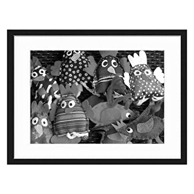 Wood Framed Canvas Artwork Home Decore Wall Art (Black White 20x14 inch) - Finger Puppets Hand Puppets Dolls Fabric Toys Bir: Home & Kitchen
