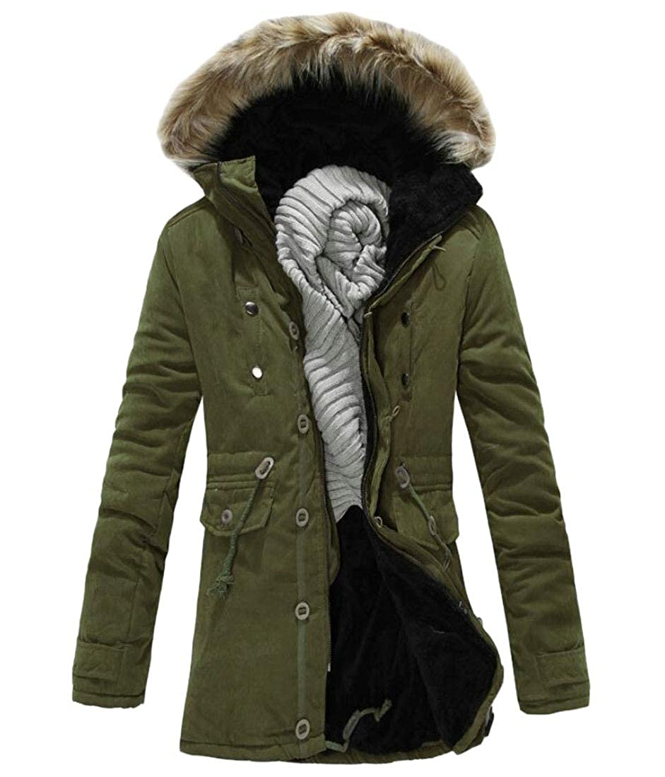 Frieed Mens Fleece Lined Military Faux Fur Hood Cotton Thick Down Parka Jacket