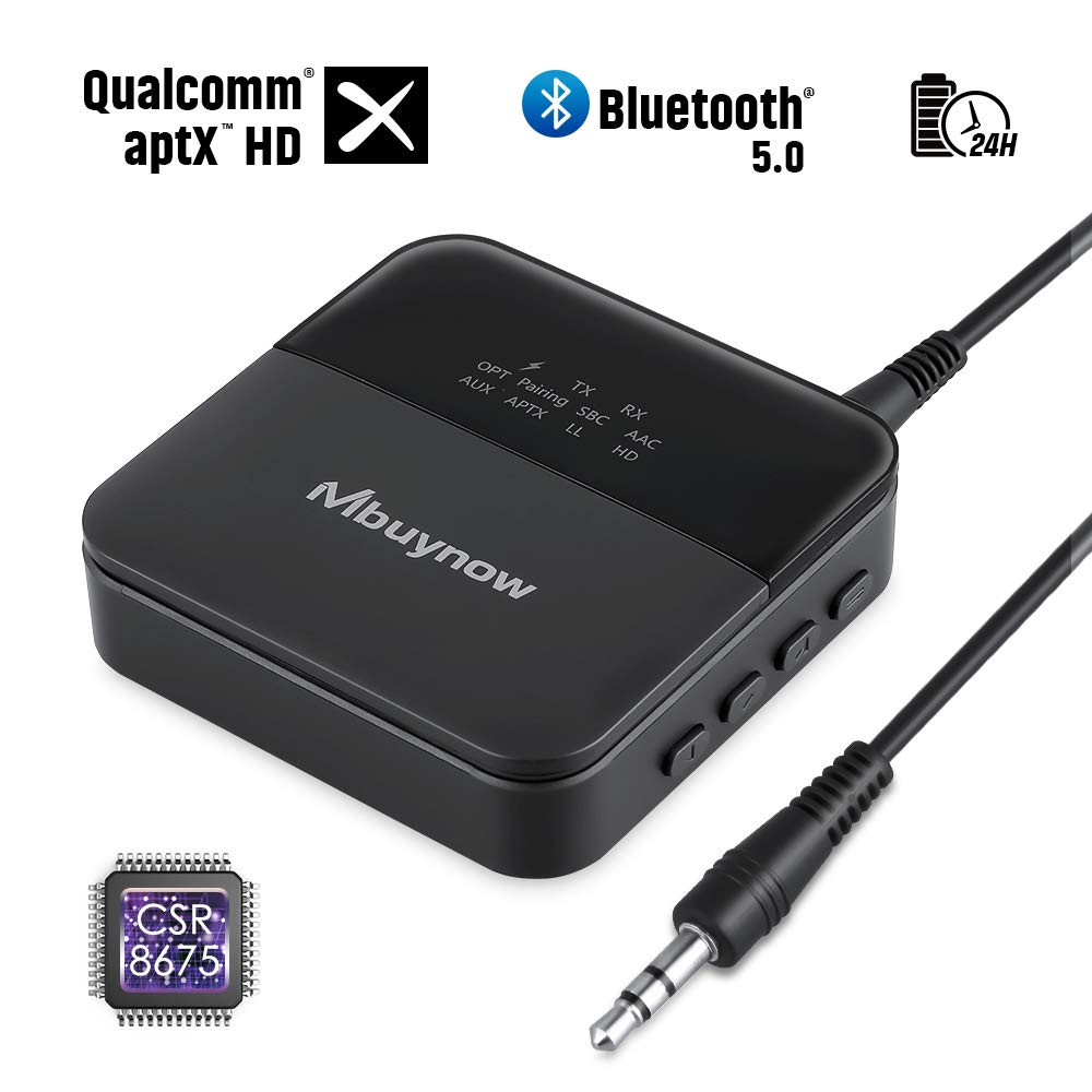 Mbuynow Bluetooth 5.0 Transmitter and Receiver, 2 in 1 Wireless 3.5mm Aux Bluetooth Audio Adapter aptX Low Latency for Home TV PC