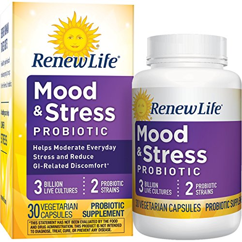 Renew Life Adult Probiotic - Mood & Stress Probiotic, Shelf Stable Probiotic Supplement - 3 Billion - 30 Vegetable Capsules