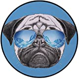 Printing Round Rug,Pug,Pug Portrait with Mirror Sunglasses Hand Drawn Illustration of Pet Animal Funny Mat Non-Slip Soft Entrance Mat Door Floor Rug Area Rug For Chair Living Room,Pearl Blue Black