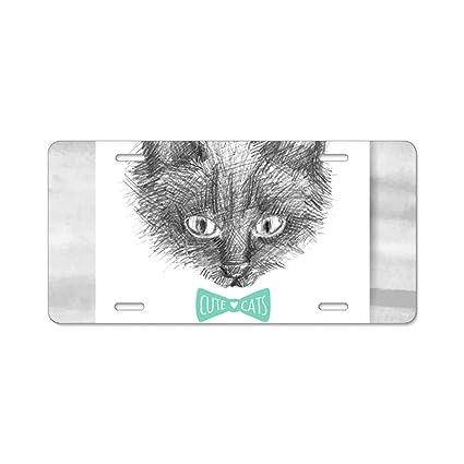 MAINE COON CAT BLACK ANIMAL Metal License Plate Frame Tag Holder