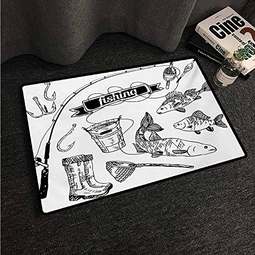 (HCCJLCKS Welcome Door mat Fishing Hand Drawn Fishing Tools Set with Rod Salmon and Perch Bucket Net Float Ribbon Super Absorbent mud W31 xL47 Black White )