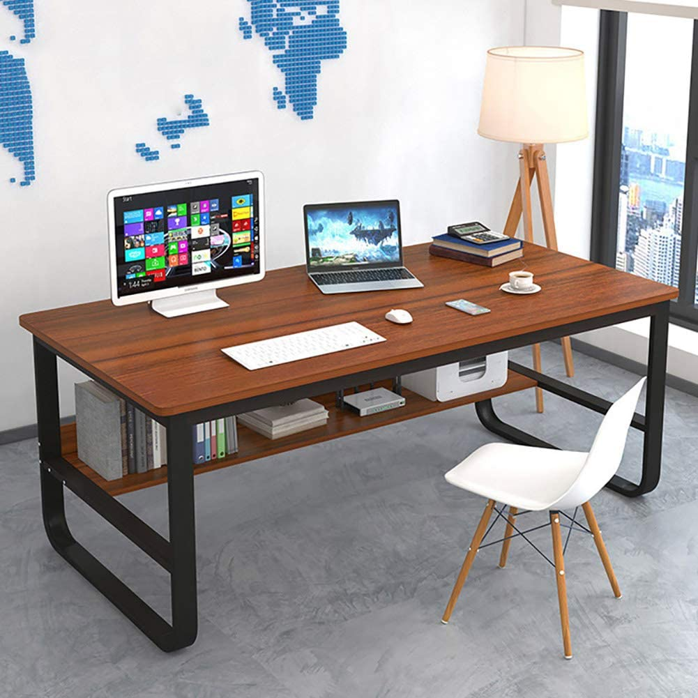 Modern Simple Style Computer Desk,Waterproof Writing Desk Pc Laptop Desk with Shelves,Study Table Sturdy Office Desk Workstation for Home Office