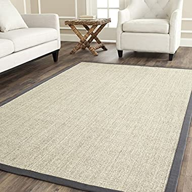 Safavieh Natural Fiber Collection NF441B Hand Woven Marble and Grey Jute Area Rug, 8 feet by 10 feet (8' x 10')