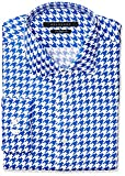"Sean John Men's Regular Fit Houndstooth Print Spread Collar Dress Shirt, French Blue, 17.5"" Neck 36""-37"" Sleeve"