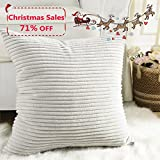 Home Brilliant Striped Corduroy Euro Sham Large Throw Pillow Cover Decorative Cushion Cover for Bed, 24 x 24 inch (60cm), Light Grey