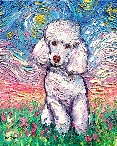 White Toy Poodle Starry Night Rectangle Art Print Cute dog artwork by Aja cute colorful van Gogh wall decor choose size and type of paper
