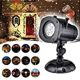 Christmas Projector Lights,2017 Upgrade Version 12 Patterns Color Laser Lights Rotating Waterproof Outdoor LED Projector Landscape Lamp for Patio Garden Christmas Holiday Wedding Party