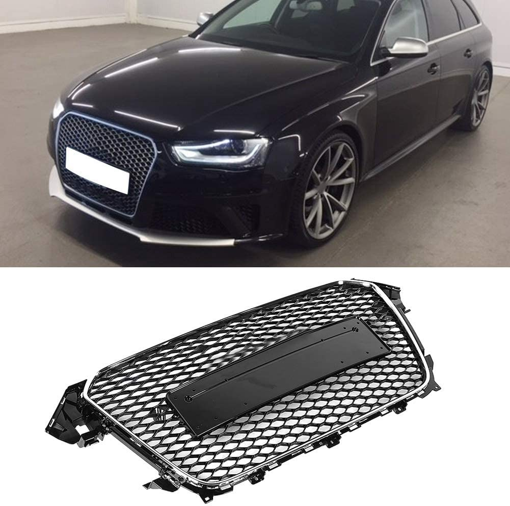 KIMISS Front Hood Mesh Black Front Bumper Grille Grill Refit for RS Style Fits for A5//S5 B8.5 12-16 Car Modification