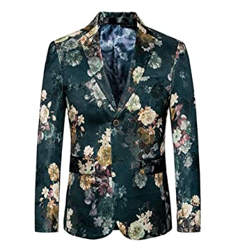 01d62cb69d Men's Floral Party Dress Suit Stylish Dinner Jacket Wedding Blazer Prom  Tuxedo at Amazon Men's Clothing store: