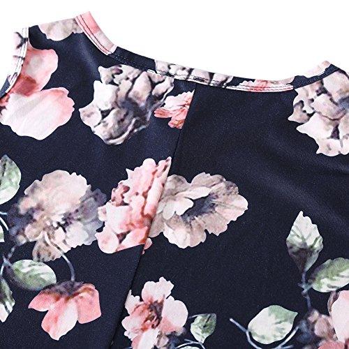 Nero Spalle Blouse Hougood Magliette Camicia Eleganti Tunica Estive Camicetta Floreale Shirt Manica T amp; Casual Scoperte Donna Top Basic Blusa Fiore Sciolto Corta rxRznrY