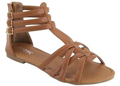 aa9f7cc75b31 ANNA Mavis-8 Women Buckle Zip Gladiator Sandal