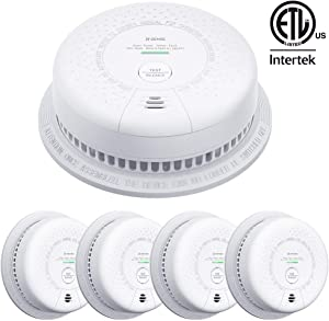 X-Sense SC03 10-Year Battery (Not Hardwired) Smoke and Carbon Monoxide Detector Alarm, Compliant with UL 217 & UL 2034 Standards, Silence Button & LED Indicator, Auto-Check, 5-Pack