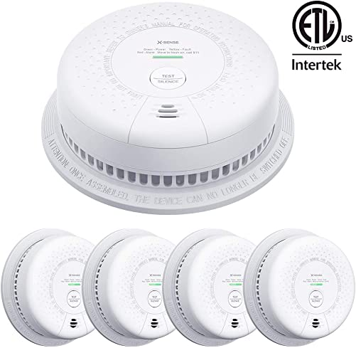 X-Sense SC03 10-Year Battery Not Hardwired Smoke and Carbon Monoxide Detector Alarm, Compliant with UL 217 UL 2034 Standards, Silence Button LED Indicator, Auto-Check, 5-Pack