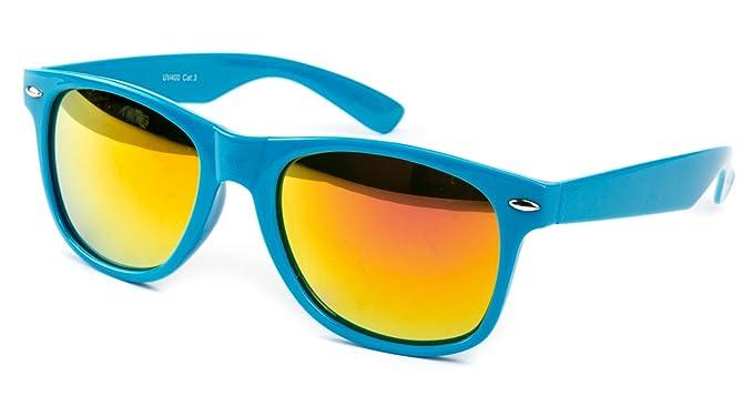 2 er Set EL-Sunprotect® Sonnenbrille Nerdbrille Brille Nerd Feuer Verspiegelt Schwarz + Weiß 9xNOo