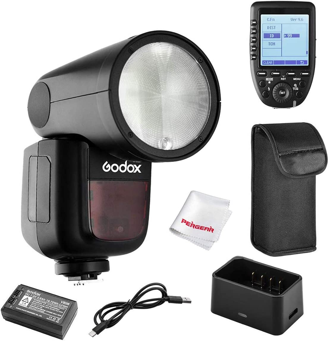 Godox V1-C Flash with Godox Xpro-C TTL Flash Trigger for Canon, 76Ws 2.4G TTL Round Head Flash Speedlight, 1/8000 HSS, 1.5 sec. Recycle Time, 2600mAh Lithium Battery, 10 Level LED Modeling Lamp