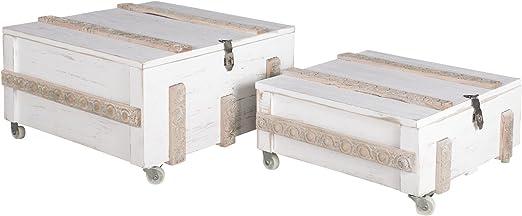 elbmöbel – Mesa baúl mesa mesa Caja Color Blanco Envejecido Madera ...