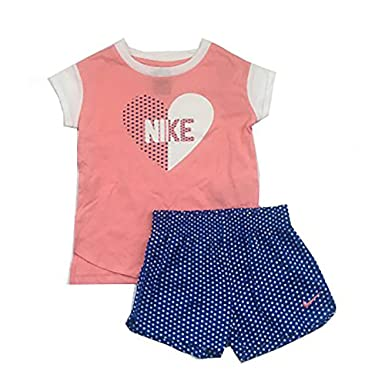 6ef78eb3d Nike Toddler Girls Two Piece T-Shirt and Shorts Set Pink/Comet Blue Size