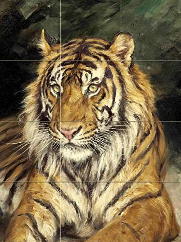 A Reclining Tiger by GEZA Vastagh Animal Predator cat Kitten Tile Mural Kitchen Bathroom Wall Backsplash Behind Stove Range Sink Splashback 3x4 4.25