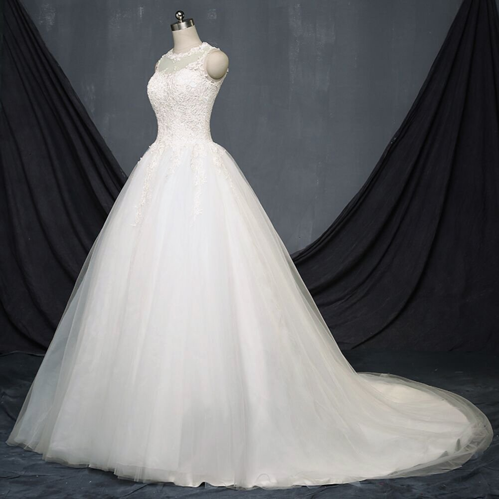 Amazon.com: TBB Illusion Lace Ball Gown casamento Elegant Long Wedding dresses (12): Clothing