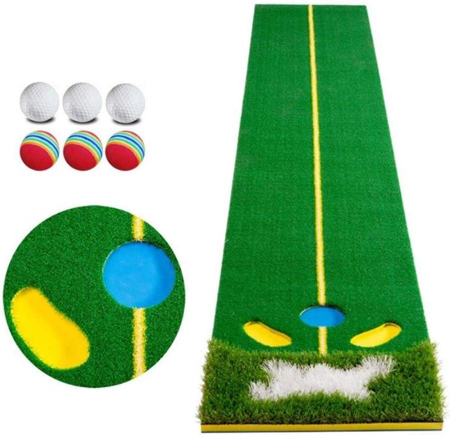 屋内ホームゴルフパッティングエクササイズマット、パッティング練習トレーナーセットオフィス練習ブランケット (Color : No Putter) No Putter