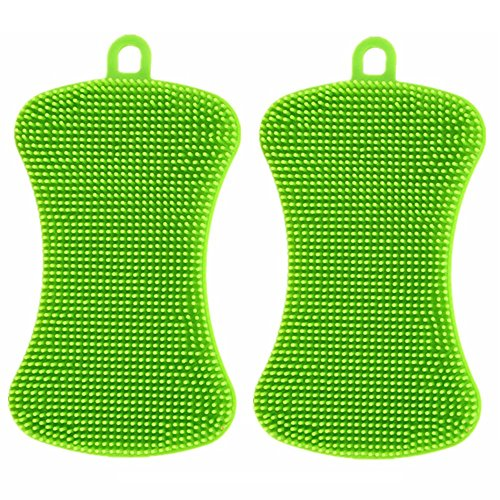 Silicone Sponge Scrubber 2 Pieces Non-Scratch Green Antibacterial Multipurpose (Scruber, Brusher, - Out To Of Plastic Get Scratches How