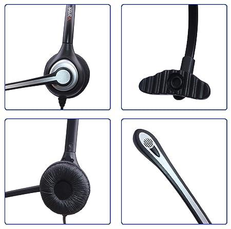 Auriculares Teléfono Fijo RJ9 Monoaural, Micrófono con Cancelación de Ruido, WANTEK Cascos con Control de Volumen para Yealink Avaya Cisco Grandstream Snom ...