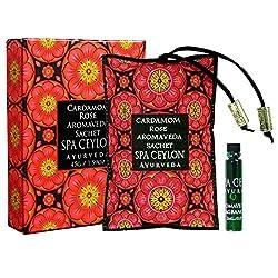 Spa Ceylon Luxury Ayurveda Cardamom Rose Aromaveda Aroma Sachet, Aromatherapy Blend with Essential Oils, 45 Grams