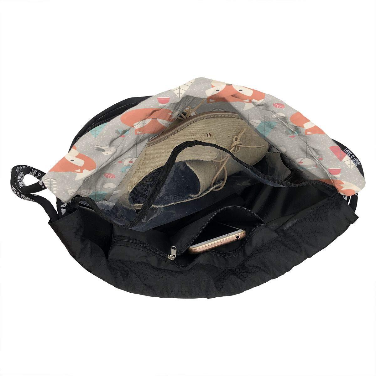 Zol1Q Fox Trees Drawstring Bag for Men /& Women Large Storage Waterproof Cinch Backpack Sackpack Tote Sack for Gym Travel