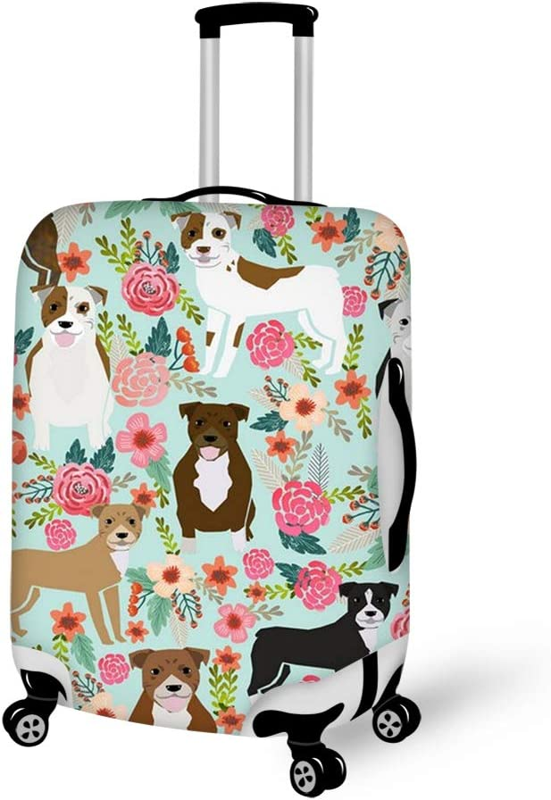 Floral Pitbull Travel Luggage Cover Suitcase Protector Fits 22-24 inch Luggage