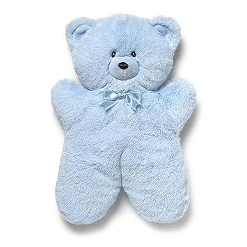 gund oliver blue flat teddy bear 13 inch plush amazon ca toys games