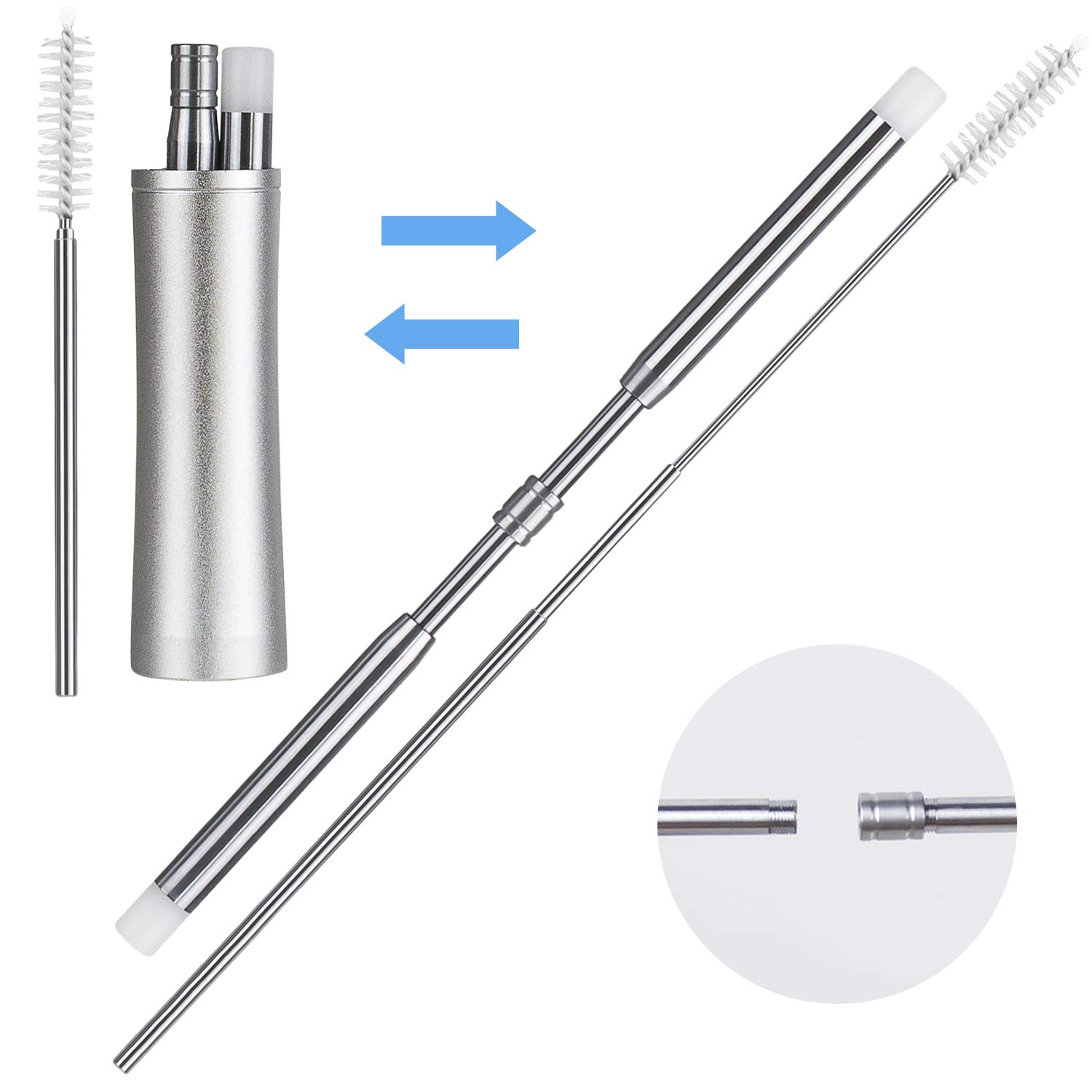 Portable Expandable and Retractable Stainless Steel Drinking Straw, Reusable Collapsible Metal Telescopic Drinking Straws, Pocket Size Metal Box with Keychain and Cleaning Brush for Travel and Home IBEET FBA1 I-Straws