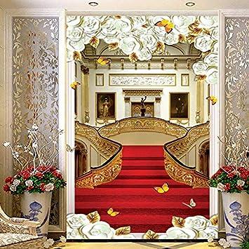 Foto mural er deco pared Estilo europeo Alfombra Escalera Foto Murales de pared Papel tapiz Sala de estar Entrada del hotel Pasillo Telón de fondo Papeles de pared 3 D: Amazon.es: Bricolaje