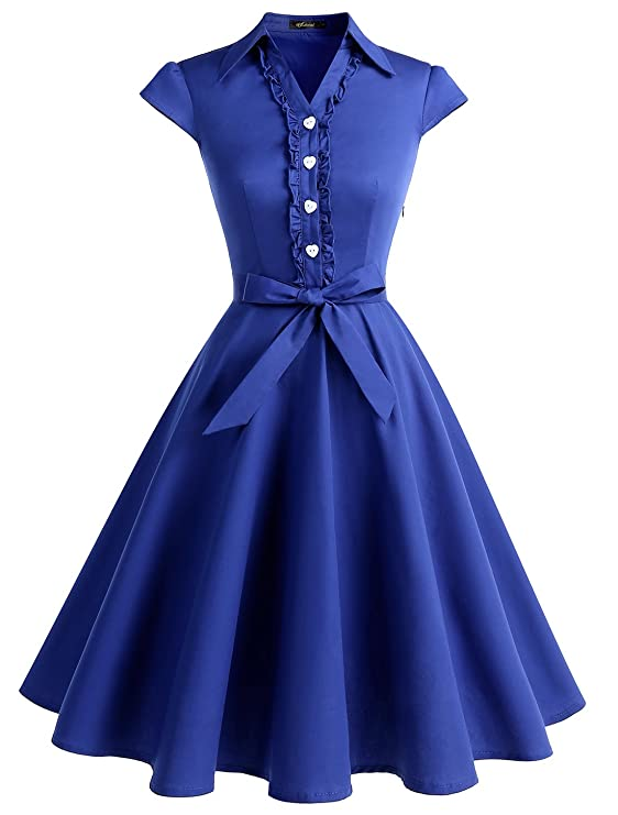 1940s Fashion Advice for Tall Women Wedtrend Womens 1950s Retro Rockabilly Dress Cap Sleeve Vintage Swing Dress $29.99 AT vintagedancer.com
