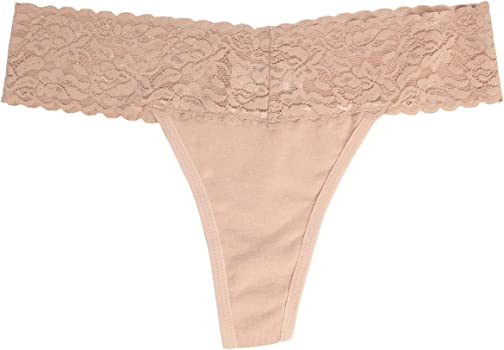 Essentials Womens 4-Pack Lace Stretch Thong Panty