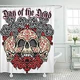 Emvency Shower Curtain Waterproof Polyester Decorative Collection 66 x 72 inches Angel Holy Death Mexican Sugar Skull Vintage Design Black Bone Celebration Cross Set Hooks Bathroom