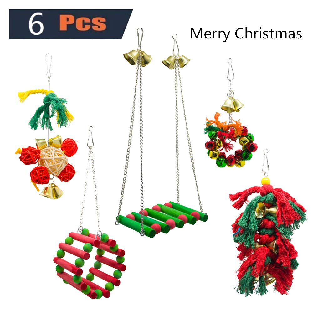 6 Pieces Parakeet Bird Parred Toy Christmas Day Decoration Set, Cotton Rope Bites Swing Stand Bells Pet Puzzle Game, Birdcage Decoration Accessories Macaw