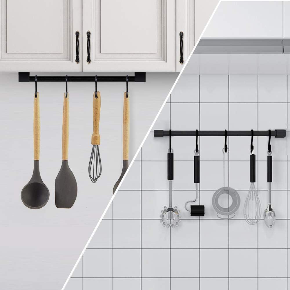 Soporte para Vasos Organizador de Acero para Utensilios de Cocina con 6 Ganchos QILICZ Color Blanco