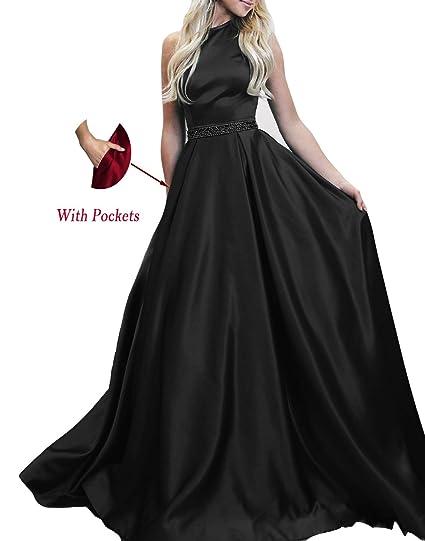 6a9b9d8d8ec Halter A Line Long Evening Dresses 2019 Satin Backless Beading Floor Length  Simple Prom Dress with