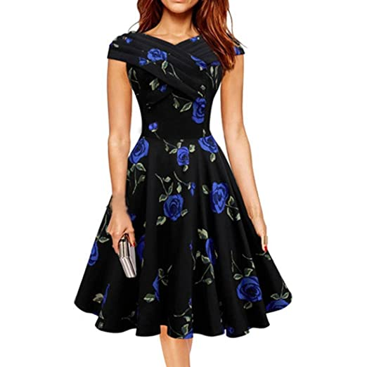 vermers Women Prom Dress, Flower Printing Off Shoulder Casual Evening Party Swing Dress at Amazon Womens Clothing store: