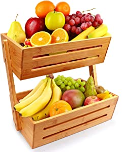 2-Tier Bamboo Countertop Fruit Basket Holder & Decorative Bowl Stand Detachable Fruit Holder,Perfect for Fruit, Vegetables, Snacks, Household Items, and Much More in Home, Kitchen and Office