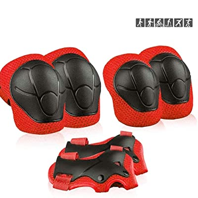 Kids Sports Protective Gear, Children Knee Pads Elbow Pads Wrist Guards Set for Skating Cycling Bike and Other Outdoor Sports (Red): Kitchen & Dining
