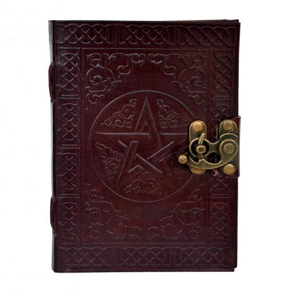 Leather Journal Brown Notebook Pentagram Embossed Writing Handbook Book of Shadows Handmade Diary Appointment Organizer Daily Planner Office Notepad Travel Diary College Sketchbook 5 x 7 inches