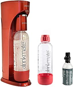 Drinkmate Beverage Carbonation Maker (RED) with 3 oz Cylinder Includes Two BPA-free Carbonation bottles, 1Litre and a half litre bottle (extra bottle may come in assorted color).