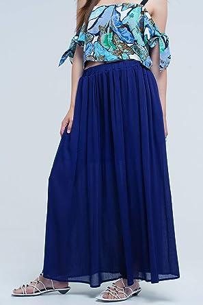 Q2 Falda Azul Marino con Bolsillos, S Mujeres: Amazon.es: Ropa y ...