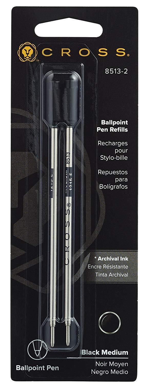 Cross Refills for Ballpoint Pens, Medium, Black Ink, 4/Pack (85132) by Cross