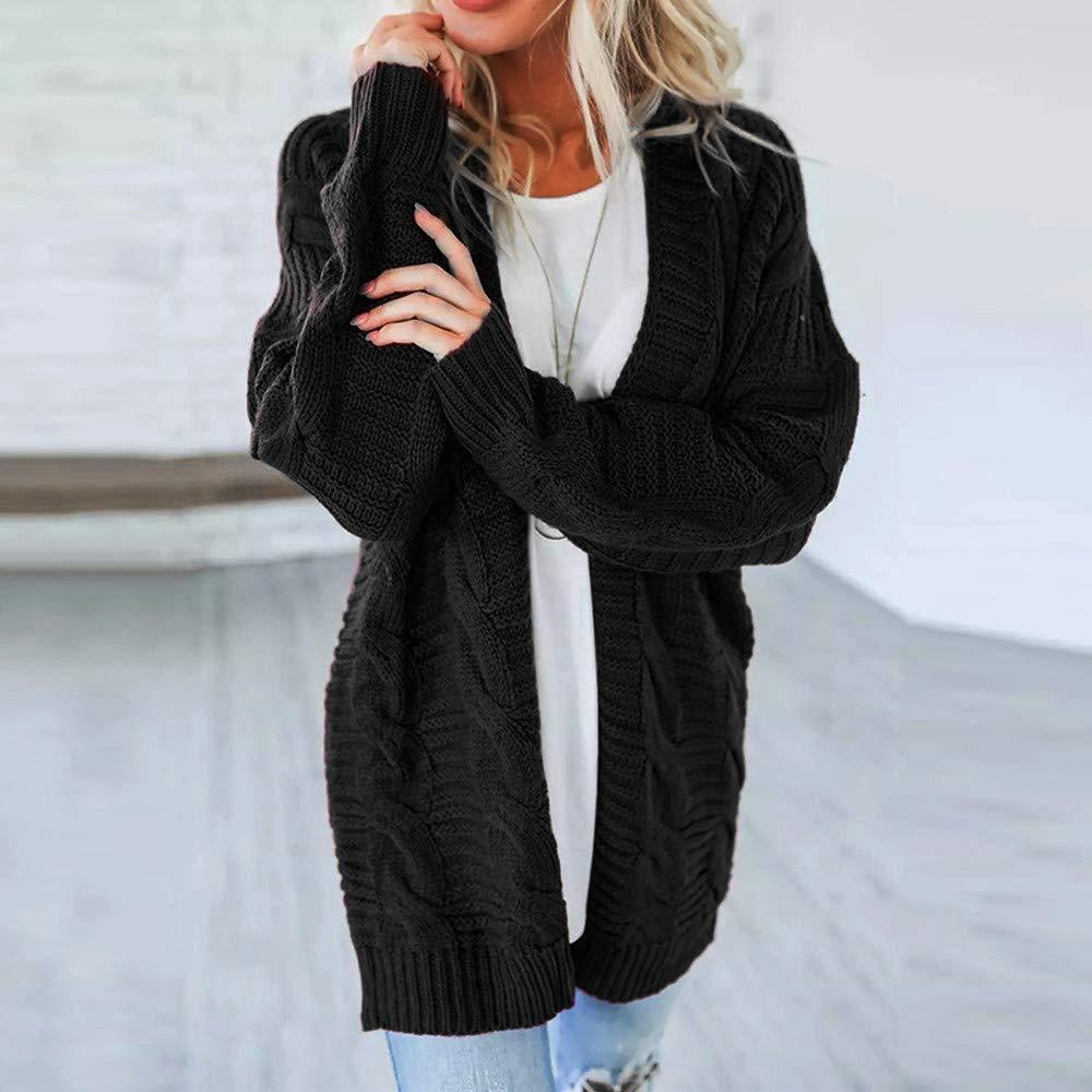 AOJIAN Women Hoodie Long Sleeve Hooded Autumn Knitwear Loose Solid Cardigan Sweater Pullover