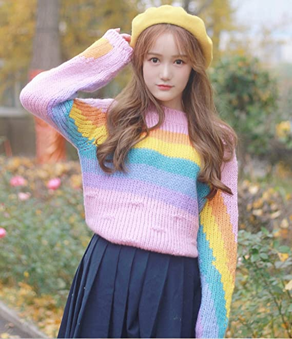 121ba1443d CRB Fashion Womens Rainbow Pullover Sweater Top (Colorful) at Amazon  Women s Clothing store