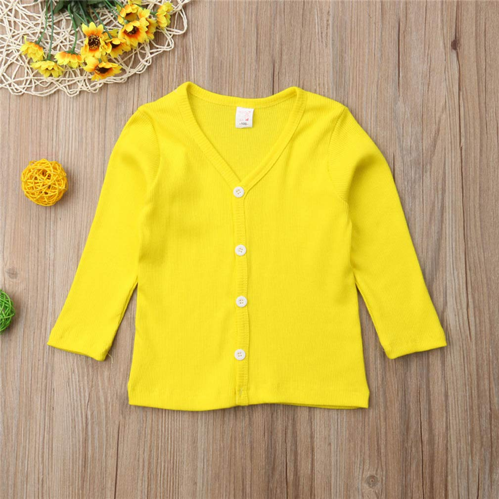 Little Baby Girls Crew Neck Button-Down Solid Knit Cardigan Sweaters Long Sleeve Soft Basic Knit Snap Jacket